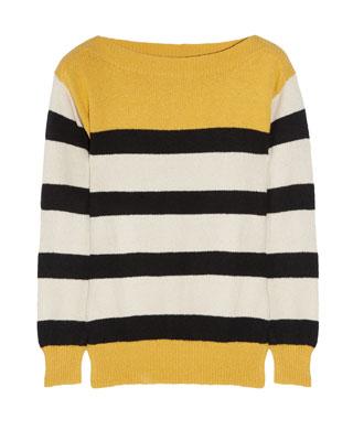Striped knitted cotton sweater, Aubin & Willis