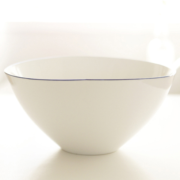 canvas ceramic bowl blue rim